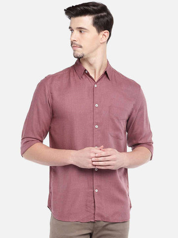 MEN'S 100% COTTON RED REGULAR FIT SHIRTS