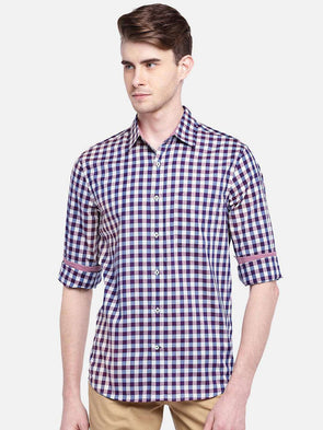 Men's Cotton Red Regular Fit Gingham Checked Shirt Cottonworld Men's Shirts
