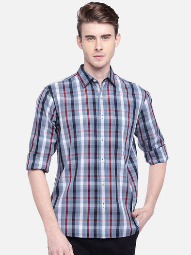 Cottonworld Men's Shirts MEN'S 100% COTTON RED REGULAR FIT SHIRTS