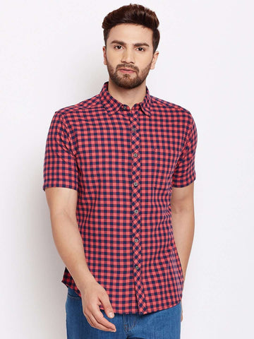 Cottonworld Men's Shirts MEN'S 100% COTTON RED SLIM FIT SHIRTS
