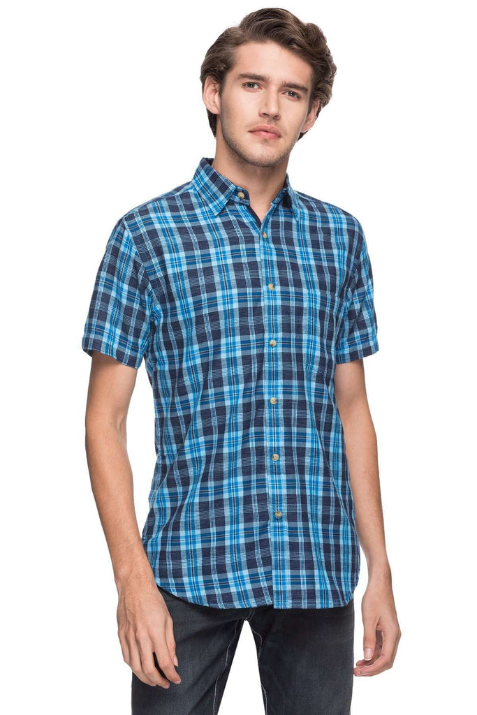 Cottonworld Men's Shirts MEN'S 100% COTTON ROYAL REGULAR FIT SHIRTS-05011-17470-ROYAL