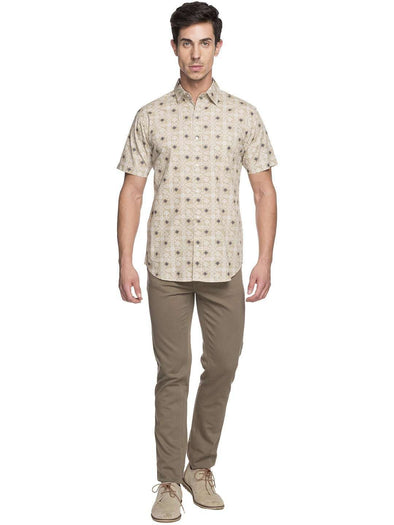 Cottonworld Men's Shirts MEN'S 100% COTTON SAND REGULAR FIT SHIRTS