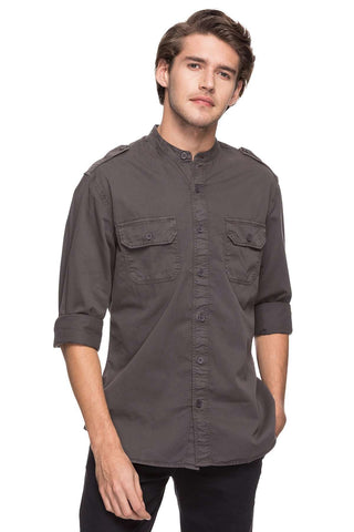 Cottonworld Men's Shirts MEN'S 100% COTTON SLATE SLIM FIT SHIRTS-15018-17605-SLATE