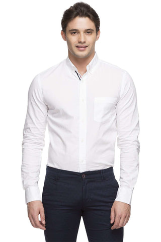 Cottonworld Men's Shirts MEN'S 100% COTTON WHITE REGULAR FIT SHIRT