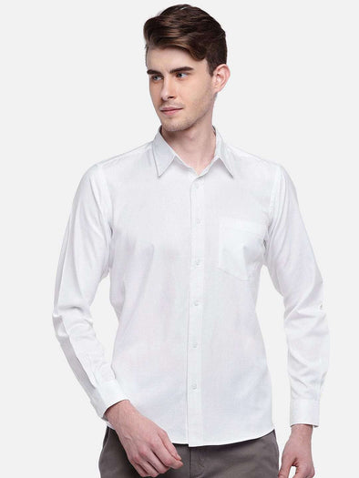 Cottonworld Men's Shirts MEN'S 100% COTTON WHITE REGULAR FIT SHIRTS