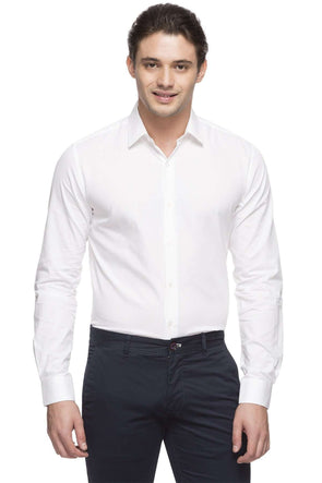 Cottonworld Men's Shirts MEN'S 100% COTTON WHITE SLIM FIT SHIRT
