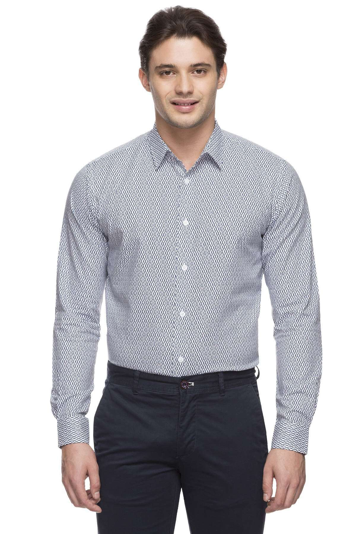 White Cotton Shirt Mens Casual Wear Slim Fit Cotton Shirt