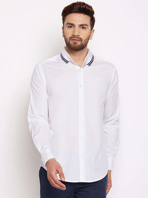 Cottonworld Men's Shirts MEN'S 100% COTTON WHITE SLIM FIT SHIRTS