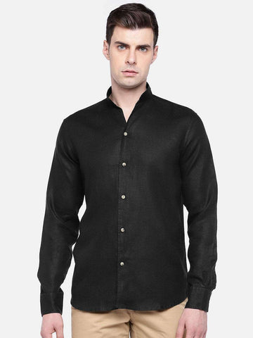 Cottonworld Men's Shirts MEN'S 100% LINEN BLACK REGULAR FIT SHIRTS