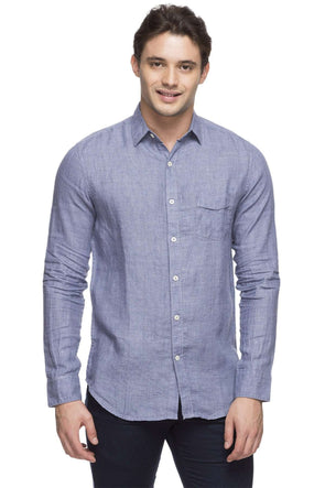 Cottonworld Men's Shirts MEN'S 100% LINEN GREY SLIM FIT SHIRT