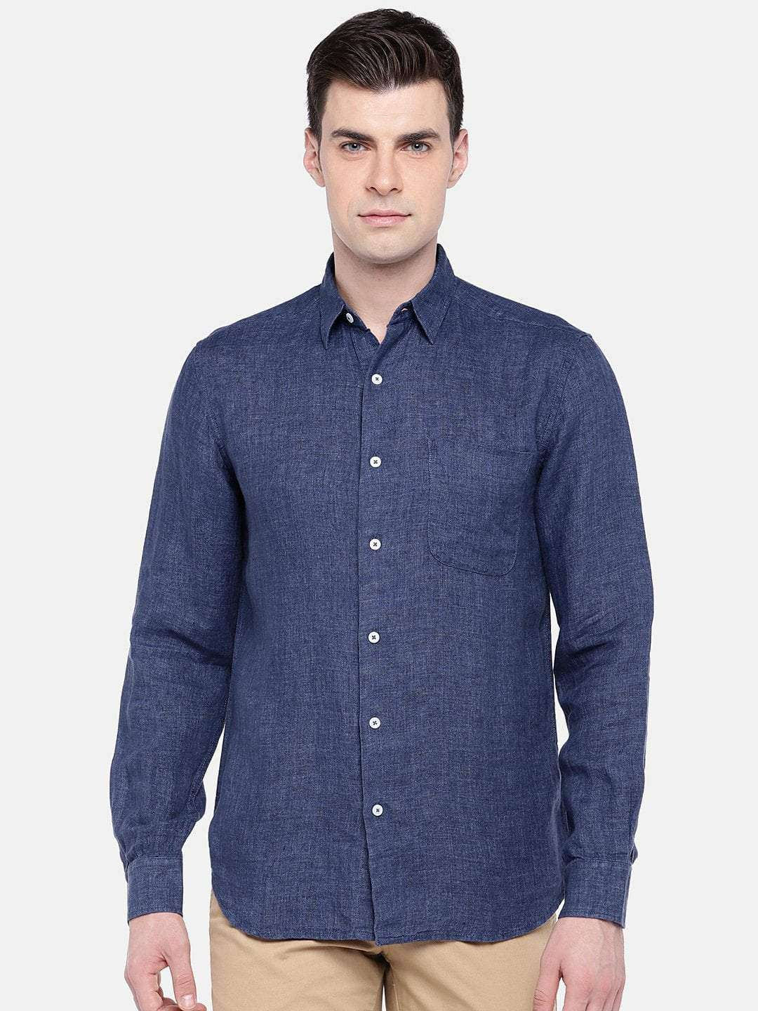 5a2eb55c621 Men's Navy Pure Linen Long Sleeve Regular Fit Shirt