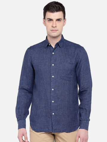 Cottonworld Men's Shirts MEN'S 100% LINEN NAVY REGULAR FIT SHIRTS