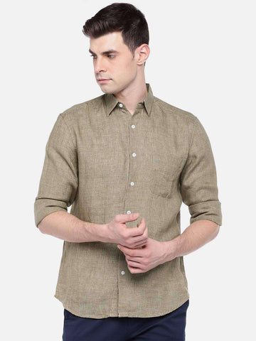 Cottonworld Men's Shirts MEN'S 100% LINEN OLIVE REGULAR FIT SHIRTS