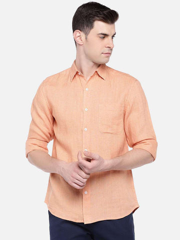 Cottonworld Men's Shirts MEN'S 100% LINEN ORANGE REGULAR FIT SHIRTS