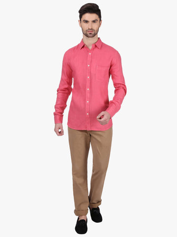 Cottonworld Men's Shirts MEN'S 100% LINEN PINK REGULAR FIT SHIRTS