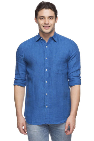 Cottonworld Men's Shirts MEN'S 100% LINEN ROYAL REGULAR FIT SHIRT
