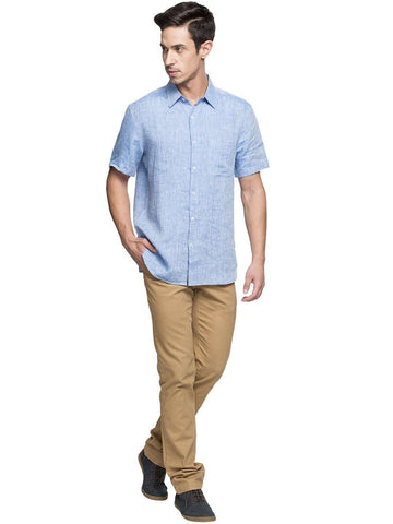 Cottonworld Men's Shirts MEN'S 100% LINEN ROYAL REGULAR FIT SHIRTS