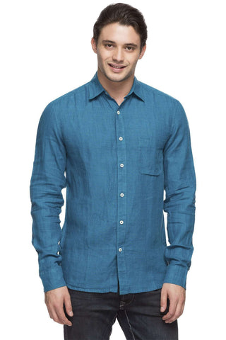 Cottonworld Men's Shirts MEN'S 100% LINEN TEAL REGULAR FIT SHIRT