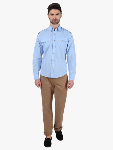 Men's Linen Cotton Blue Regular Fit Shirts Cottonworld Men's Shirts
