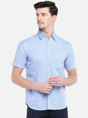 Cottonworld Men's Shirts MEN'S 40% LINEN 60% COTTON BLUE SLIM FIT SHIRTS