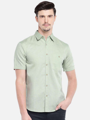 Cottonworld Men's Shirts MEN'S 40% LINEN 60% COTTON LT.OLIVE SLIM FIT SHIRTS