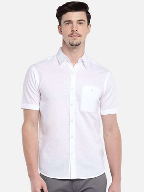 Cottonworld Men's Shirts MEN'S 40% LINEN 60% COTTON WHITE SLIM FIT SHIRTS