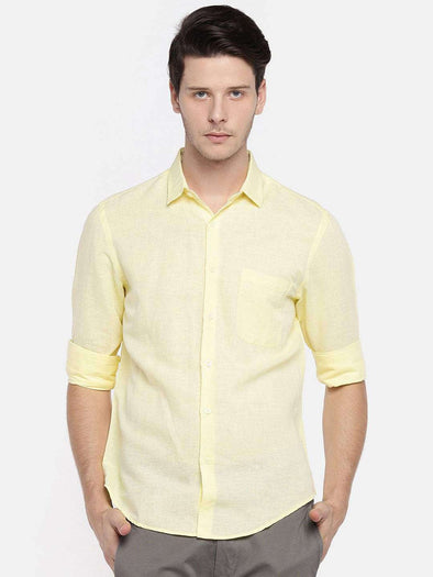 Cottonworld Men's Shirts MEN'S 55% LINEN 45% COTTON LEMON REGULAR FIT SHIRTS
