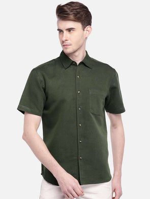 Cottonworld Men's Shirts MEN'S 55% LINEN 45% COTTON OLIVE REGULAR FIT SHIRTS