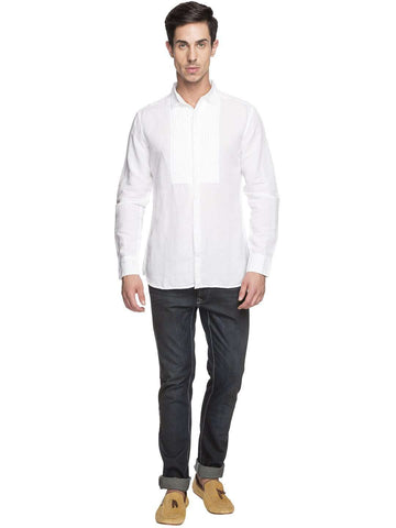 Cottonworld Men's Shirts MEN'S 55% LINEN 45% COTTON WHITE SLIM FIT SHIRTS