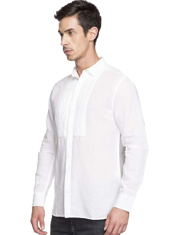 Men's 5 Linen 4 Cotton White Slim Fit Shirts Cottonworld Men's Shirts