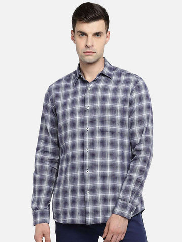 Cottonworld Men's Shirts MEN'S 60% LINEN 40% COTTON INK REGULAR FIT SHIRTS