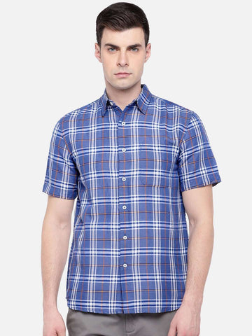 Cottonworld Men's Shirts MEN'S 65% LINEN 35% COTTON BLUE REGULAR FIT SHIRTS