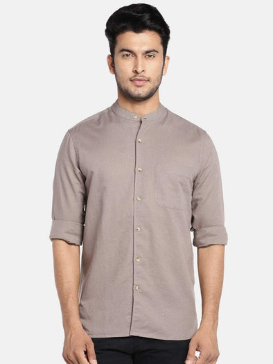 Men's Brown Regular Fit Classic Linen Cotton Band Collar Shirt Cottonworld Men's Shirts