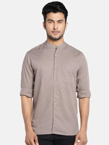 Cottonworld Men's Shirts MEN'S 65% LINEN 35% COTTON BROWN REGULAR FIT SHIRTS