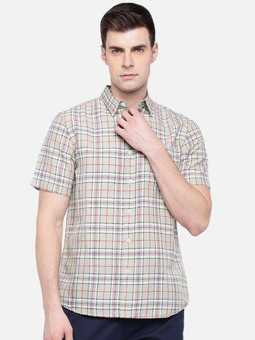 Cottonworld Men's Shirts MEN'S 65% LINEN 35% COTTON KHAKI REGULAR FIT SHIRTS