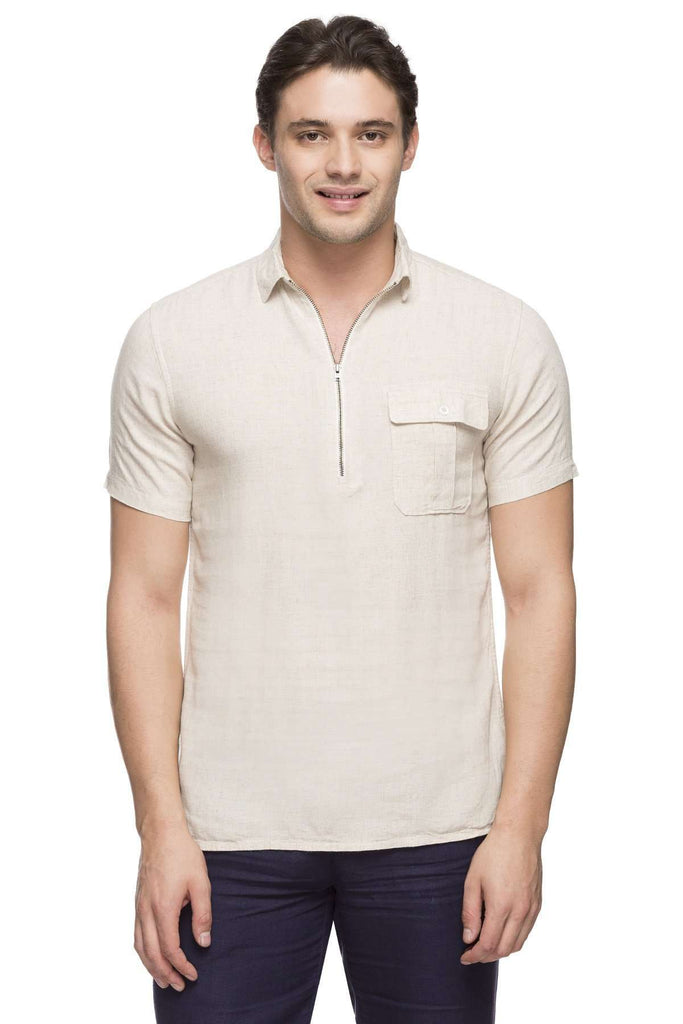 Cottonworld Men's Shirts MEN'S 75% MODAL 25% COTTON NATURAL SLIM FIT SHIRT