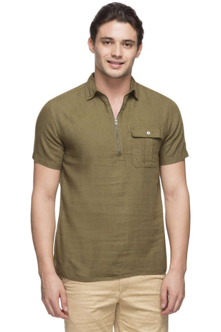 Cottonworld Men's Shirts MEN'S 75% MODAL 25% COTTON OLIVE SLIM FIT SHIRT