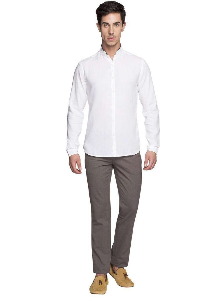 Cottonworld Men's Shirts MEN'S 75% MODAL 25% COTTON WHITE SHIRTS