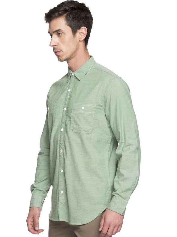 Cottonworld Men's Shirts MEN'S 97% COTTON 3% ELASTANE GREEN REGULAR FIT SHIRTS