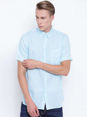 Cottonworld Men's Shirts MEN'S AQUA PURE LINEN SHORT SLEEVE REGULAR FIT SHIRT