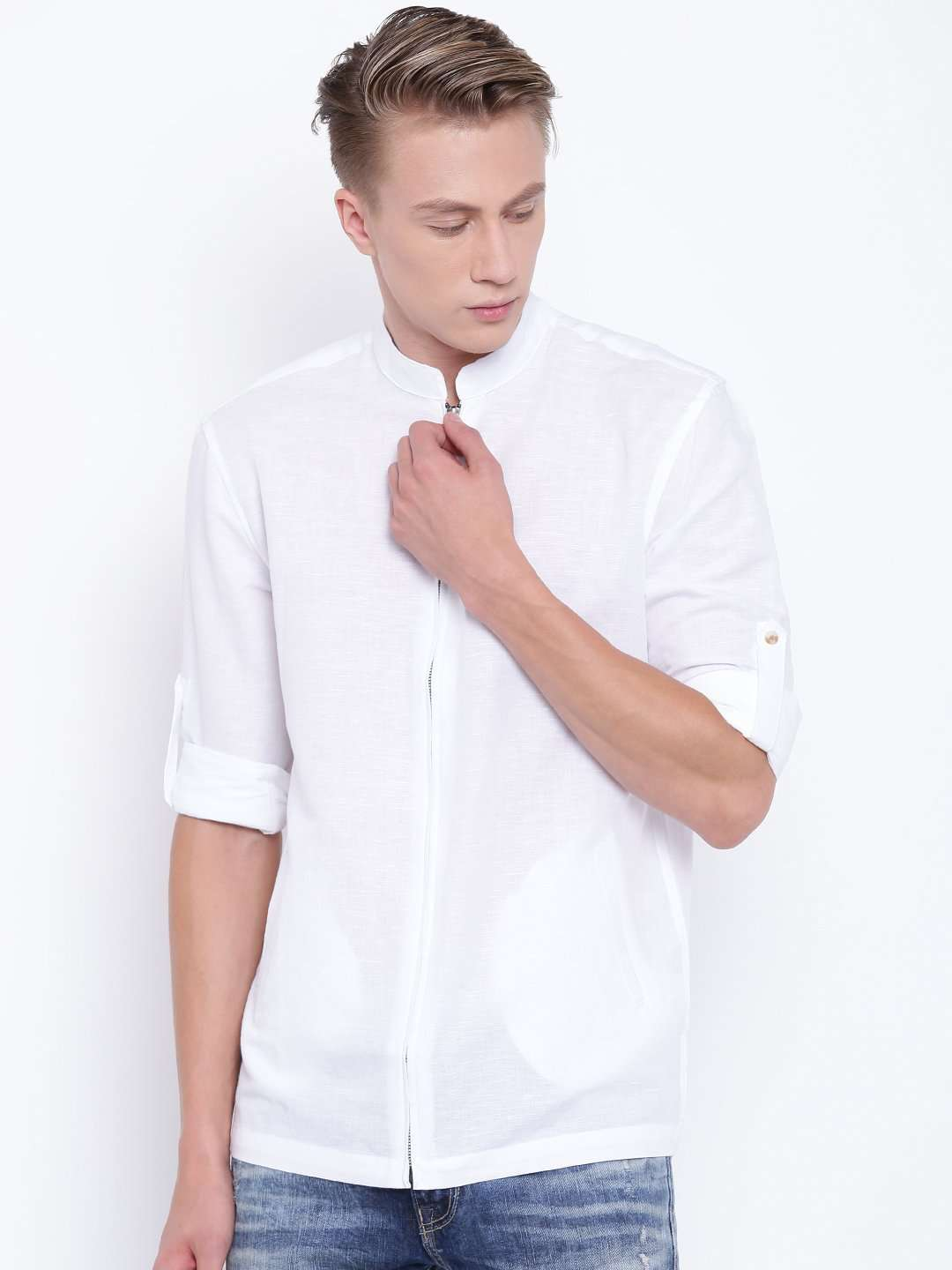a2f25629638c64 Men's White Linen Cotton Band Collar Slim Fit Roll Up Sleeve Full Zipper  Shirt