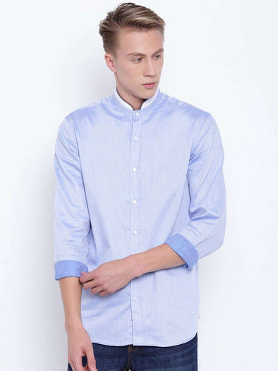 Men's Blue Band Collar Regular Fit Shirt With Piping Detail Cottonworld Men's Shirts