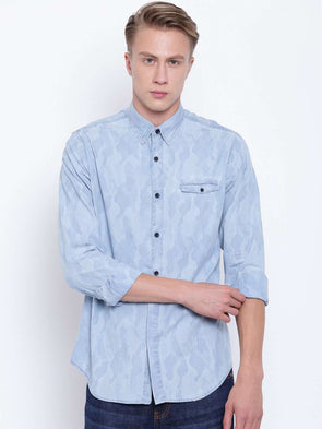 Men's Blue Camouflage Printed Denim Slim Fit Shirt Cottonworld Men's Shirts