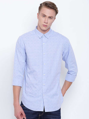 Men's Blue Jacquard Slim Fit Shirt Cottonworld Men's Shirts