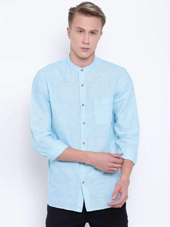 Cottonworld Men's Shirts MEN'S BLUE LINEN COTTON BAND COLLAR REGULAR FIT SHIRT