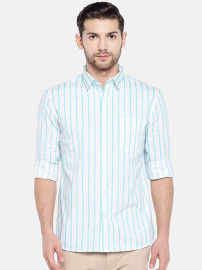 Men's Cotton Aqua Striped Regular Fit Shirt Cottonworld Men's Shirts