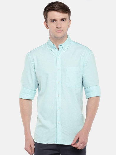 Cottonworld Men's Shirts Men's Cotton Aqua Regular Fit Shirts
