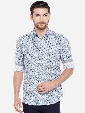 Men's Cotton Aqua Slim Fit Floral Printed Shirt With Contrast Fabric Cottonworld Men's Shirts