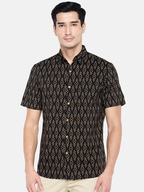 Men's Cotton Black Regular Fit Shirt Cottonworld Men's Shirts