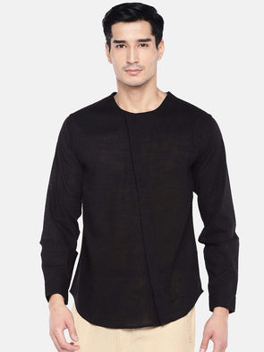 Men's Cotton Black Regular Fit Kurta Shirt Cottonworld Men's Shirts